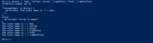 loop all array elements in powershell