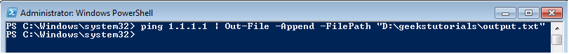 4.Append output to an existing file using PowerShell