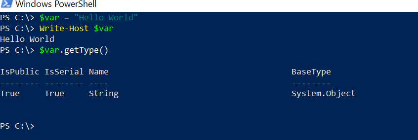 declare string in PowerShell