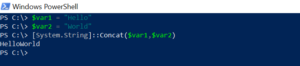Concatenates String in PowerShell