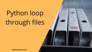 Python loop through files